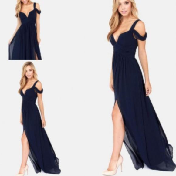 Bariano Dresses   Navy Blue Low Cut High Long Evening Dress   Poshmark